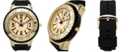 Louis Richard Pendragon Men's Watch Black Silicone Strap, Gold Case, Gold Dial, 53mm