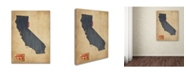 "Trademark Global Michael Tompsett 'California Map Denim Jeans Style' Canvas Art - 14"" x 19"""