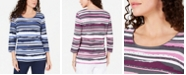 Karen Scott Studded Striped Top, Created for Macy's