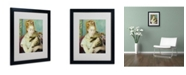 """Trademark Global Pierre Auguste Renoir 'Woman With a Cat 1875' Matted Framed Art - 20"""" x 16"""""""