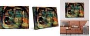"Creative Gallery Tangerine Scrawl Abstract Portrait Metal Wall Art Print - 24"" x 36"""