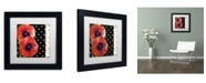 """Trademark Global Color Bakery 'Scarlet Poppies II' Matted Framed Art - 11"""" x 11"""""""