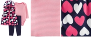 Carter's Baby Girls 3-Pc. Hooded Heart-Print Vest, Striped Bodysuit & Pants Set