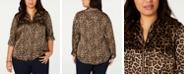 Michael Kors Plus Size Animal-Print Zip-Front Top