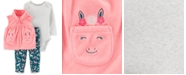 Carter's Baby Girls 3-Pc. Microfleece Vest, Bodysuit & Horse-Print Pants Set