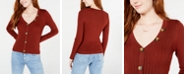 Almost Famous Juniors' Ribbed Cropped Buttoned Sweater