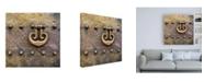 """Trademark Global Philippe Hugonnard Made in Spain 3 Door Knocker on Copper Door III Canvas Art - 15.5"""" x 21"""""""