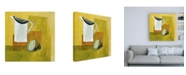 "Trademark Global Pablo Esteban Pitcher on Yellow Canvas Art - 15.5"" x 21"""