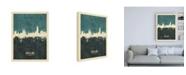 "Trademark Global Michael Tompsett Barcelona Spain Skyline Teal Canvas Art - 36.5"" x 48"""