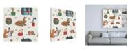 "Trademark Global Emily Adams Christmas Critters Bright Pattern IIIB Canvas Art - 19.5"" x 26"""