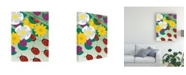 "Trademark Global Marie Sansone Flowers on Green Canvas Art - 20"" x 25"""