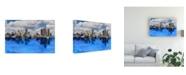 "Trademark Global Monte Nagler Detroit Skyline Michigan Color Canvas Art - 20"" x 25"""