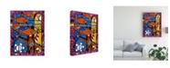 "Trademark Global Oscar Ortiz Orange Fish Abstract Canvas Art - 36.5"" x 48"""