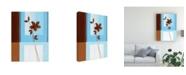 "Trademark Global Pablo Esteban Brown Flower, Blue Square Left Canvas Art - 36.5"" x 48"""