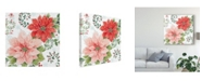 "Trademark Global Daphne Brissonnet Country Poinsettias II Canvas Art - 15"" x 20"""