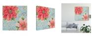 "Trademark Global Daphne Brissonnet Country Poinsettias III Blue Canvas Art - 27"" x 33"""