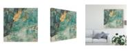"Trademark Global Jennifer Goldberger Teal Lace I Canvas Art - 20"" x 25"""