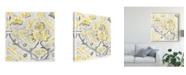 "Trademark Global June Erica Vess Citron Damask Tile I Canvas Art - 20"" x 25"""