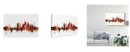 "Trademark Global Michael Tompsett Frankfurt Germany Skyline Red Canvas Art - 20"" x 25"""
