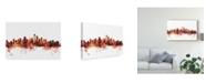 "Trademark Global Michael Tompsett Seattle Washington Skyline Red Canvas Art - 15"" x 20"""
