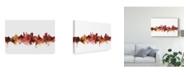 "Trademark Global Michael Tompsett Cambridge England Skyline Red Canvas Art - 20"" x 25"""