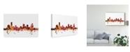 "Trademark Global Michael Tompsett Grand Rapids Michigan Skyline Red Canvas Art - 20"" x 25"""