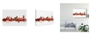 "Trademark Global Michael Tompsett Buffalo New York Skyline Red Canvas Art - 15"" x 20"""