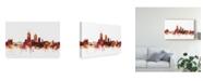 "Trademark Global Michael Tompsett Lyon France Skyline Red Canvas Art - 20"" x 25"""