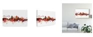"Trademark Global Michael Tompsett Middlesbrough England Skyline Red Canvas Art - 15"" x 20"""