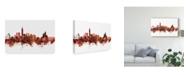 "Trademark Global Michael Tompsett Taipei Taiwan Skyline Red Canvas Art - 15"" x 20"""