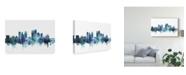 "Trademark Global Michael Tompsett Dayton Ohio Skyline Blue Canvas Art - 20"" x 25"""
