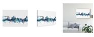 "Trademark Global Michael Tompsett Newport Wales Skyline Blue Canvas Art - 15"" x 20"""