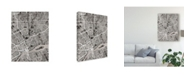 "Trademark Global Michael Tompsett Detroit Michigan City Map Black Canvas Art - 20"" x 25"""