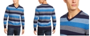 Club Room Men's Regular-Fit Stripe V-Neck Sweater, Created for Macy's