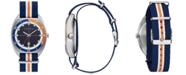 Caravelle Men's Blue, Orange & White Nylon Strap Watch 40mm