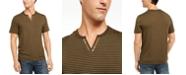 INC International Concepts INC Men's Striped Split-Neck T-Shirt, Created for Macy's