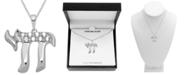 "Macy's Diamond (1/10 ct. t.w.) Chai 18"" Pendant Necklace in Sterling Silver"