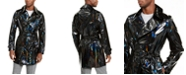 INC International Concepts INC Men's ONYX Rubberized Holographic Trench Coat, Created For Macy's