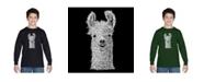 LA Pop Art Boy's Word Art Long Sleeve T-Shirt - Llama