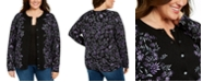 Karen Scott Plus Size Printed Button-Front Cardigan, Created for Macy's
