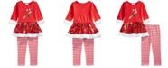 Blueberi Boulevard Little Girls 2-Pc. Candy Cane Top & Striped Leggings Set
