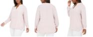 Anne Klein Plus Size Split-Neck Blouse