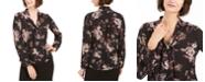 Nine West Floral-Print Tie-Neck Blouse