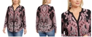 INC International Concepts INC Plus Size Printed Split-Neck Top, Created For Macy's