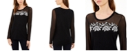INC International Concepts I.N.C. Lace-Trim Illusion Sweater, Created For Macy's
