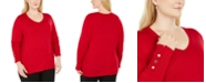 JM Collection Plus Size Button-Cuff V-Neck Sweater, Created For Macy's