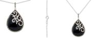 "Macy's Onyx (27 x 96mm), Marcasite & Crystal Teardrop 18"" Pendant Necklace in Sterling Silver"