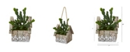 """Nearly Natural 10"""" Cactus Succulent Artificial Plant in Hanging Floral Design House Planter"""