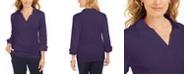 Karen Scott Petite Split-Neck Point-Collar Top, Created For Macy's