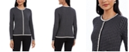 Charter Club Petite Metallic-Trim Grid-Patterned Cardigan Sweater, Created For Macy's